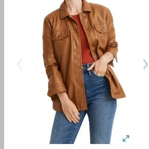 Madewell Vegan Leather Chore Jacket brown medium